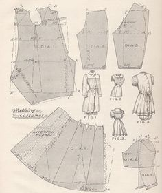 Pattern Diagram for Woman's Victorian/Edwardian Bathing Suit    Featured in The Cutter's Practical Guide: Ladies' Garments, c. 1900