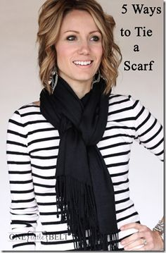 I always forget this trick:  fold scarf in half and wrap around neck.  put one end thru the loop.  twist the loop, then put other end thru