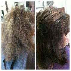 Before and after Kenra Smoothing Treatment. Lasts 60 washes