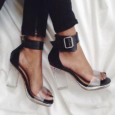 Minimal + Chic | @CO DE + / F_ORM woman shoes, black heels, tape, shoe shoeporn