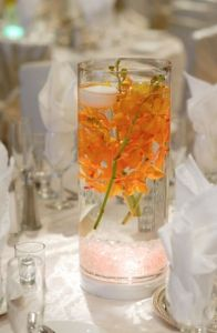 Bridal shower table decor.  Keep it cheap with only one sprig, using fake flowers.  Tall vases on only half of tables?  Other half with only simple votives?