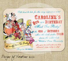 Alice in Wonderland, Tea Party Themed Invitation Digital Templat