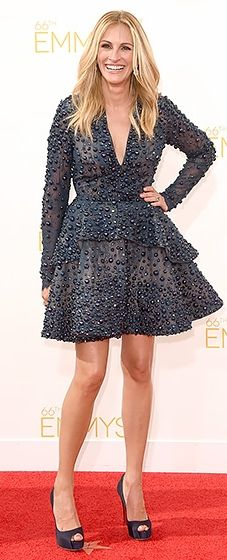 Julia Roberts showed off her legs in an Elie Saab beaded dress with a plunging neckline and peplum waist at the 2014 Emmys.