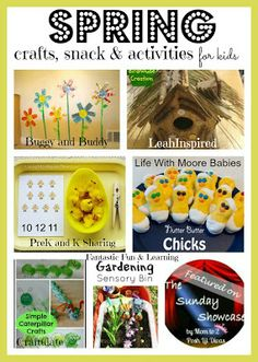 Spring crafts, play & learning ideas & a cute chick snack - lots of fun ideas for kids.