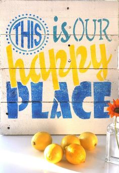 Happy Place - Wooden Pallet Sign - $45.00 idea, happi place, wooden pallets, my happy place sign, wooden pallet signs, wooden kitchen signs, quot