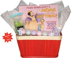 REPIN TO WIN this basket! A thoughtful gift for any mom out there, the Mary Engelbreit's Moms Can Do Anything! Weekly 2013 Family Calendar helps keep mom organized all year long. Throw in some luxury bath items to give mom a real treat! To enter: repin the original pin at http://pinterest.com/pin/41095415321541247/ & view contest rules at http://andrewsmcmeel.tumblr.com/post/37059034495/holiday-gift-ideas-mary-engelbreit# #maryengelbreit #giftbasket #supermom #holiday #mom #RepinToWin gift ideas, maryengelbreit giftbasket, thoughtful gifts, giftbasket ideas, holiday gifts