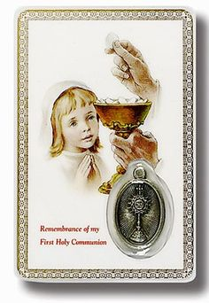Support a young Catholic going through her First Communion with this Communion Prayer Card for Girl. Presenting this simple serenity prayer card as first communion gifts or first communion favors will show your support during this religious milestone. A symbol of your delight in their confidence at this important event, this card is a fine token for any young girl.The image of Jesus presenting a girl with the Eucharist while her guardian angel looks on, graces the front of t...