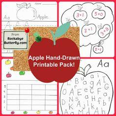 butterflies, applet, appl printabl, homeschool, apples, activ, handdrawn printabl, preschool, fall goodi