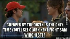 Remember that one time Lizzie McGuire had to break up a fight between Superman and Sam Winchester?