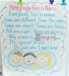 """Our poem of the week was """"Everybody Has a Name"""".  Each of my little friends took a turn repeating the last part of the poem using their own name and they thought that was pretty cool."""