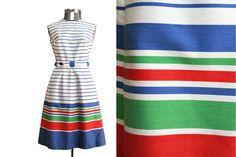 1950s vintage Pat Prema California nautical striped dress with belt on Etsy, $68.00