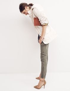 Madewell waxed military anorak, skinny skinny ankle-zip cargos and the Nora heel.