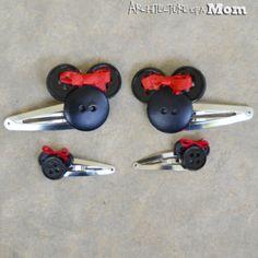 minnie mouse diy gifts, diy hair clips, diy minnie mouse gifts, disney crafts diy, diy disney crafts, hair clips diy, button hair clips, minnie mouse crafts, disney diy crafts