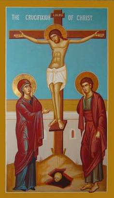 Crucifixion. Jesus' mother, Mary, and John the Apostle remain with Him at Golgotha (notice the skull at the bottom)