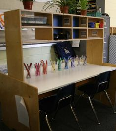 I need to improve my writing center... I like all the things she has included.  I have these items in my classrooms but they are scattered in different centers such as stamps are in the art center.