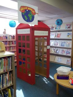 "England - World Thinking Day-cardboard phone box & other ""houses"" for use at children's halloween party. Kids go ""door-to-door"" at various houses set up in the library for their treats. Did this at a club I belonged to when my kids were little & they loved it. Supergirl costume for phone booth; Witch in gingerbread house; Fisherman in a boat; Bird in a bird house etc."