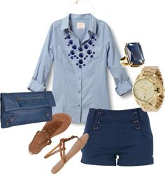 navy shorts, denim or light blue button up, brown shoes, gold jewelry