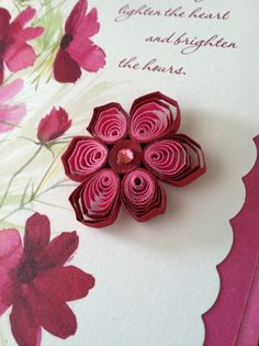 Valentine's Day card - removable quilled embellishment - magnet on back of quilled flower as additional surprise gift :)