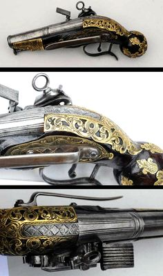 Miquelet flintlock ball butt pocket size pistol with ornate pierced brass inlay circa 17th century