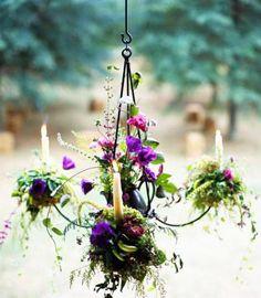 fantasy garden ideas, garden projects, garden chandelier, floating candles, outdoor light, outdoor fence lighting, fantasy gardens, flower, candl light