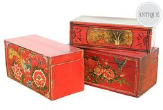 Hand painted pine trunks n chests.