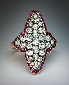 Imperial Russian 1908-1917 Antique old mine Diamond & Ruby Ring