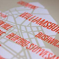 Brooklyn Map #brooklyn #map #print #silkscreen