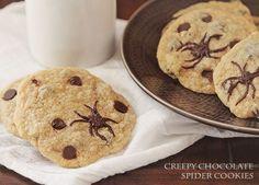 Creepy Chocolate Chip Spider Cookies at iambaker.net