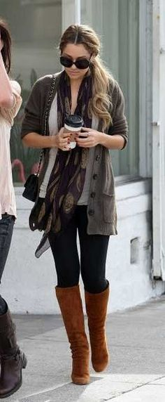 I love a long sweater with boots and leggings! Now, if only I could find this one...