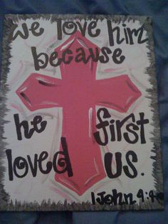 Cross+Paintings+On+Canvas | Painted Cross and Scripture Canvas by megsieswegsies on Easy // #paint Love the idea of using this verse on a painting of 3 crosses on Calgary...