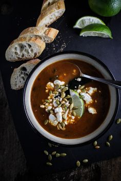 Roasted Poblano and Black Bean Soup | {Katie at the Kitchen Door}