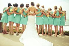 teal and yellow wedding
