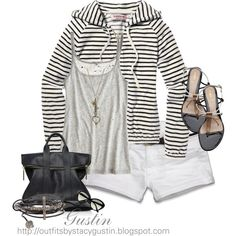 stripe hoodie, created by stacy-gustin on Polyvore