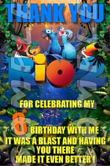 rio, envelopes, 4x6, birthday invit, parti suppli, parti favor, note, person birthday