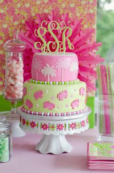 Lilly Pulitzer inspired birthday lilly pulitzer cake, dream cake, 40th birthday, 16th birthday, inspir birthday, preppy birthday cakes, 1st birthdays, cake lilly pulitzer, cake toppers