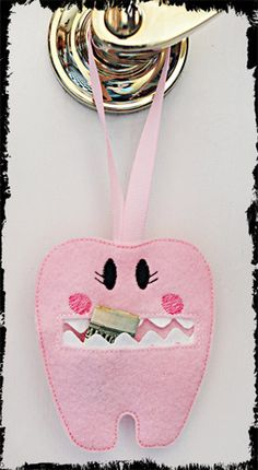 Felt tooth lost pocket  custom color  ribbon hangs by kellyjoe, $3.25