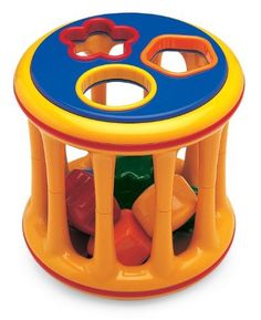 Tolo Toys Rolling Shape Sorter by Revolution Publishing. $22.02. From the Manufacturer                Each side of this drum-shaped roller has colorful cutouts that match the included plastic shapes, making this toy ideal for color and shape matching. The six shapes store conveniently inside the roller and make a pleasant rattling sound as the sorter is rolled along the floor by toddlers, simultaneously developing strength and agility. Tolo Toys award-winning designs, br...