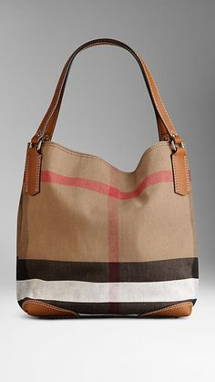 Medium Canvas Check Tote Bag | Burberry  (Saddle brown straps. This exact one.)