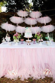 Vintages ballerinas tutus | Ballerina Pink Tutu Party, pink, tutu, tulle, dessert table, mint