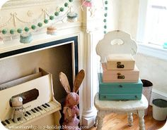 Interiors/ storage ! pretty pastel luggage trunks
