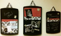 cookie sheets/magnetic chalkboard - sprayed with chalkboard paint and decorated with scrapbook paper.
