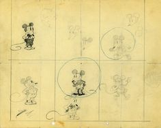 Earliest known drawings By Walt of Mickey Mouse