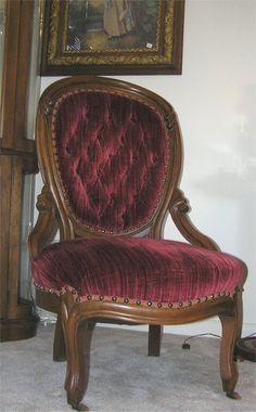 walnut victorian parlor chair