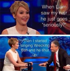 Jennifer Lawrence, hilarious even with a pixie cut