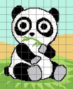 Cute Panda Crochet Graph Chart Pattern