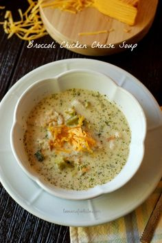 This broccoli soup is pure comfort with chunks of chicken, broccoli and of course lots of cheese! www.lemonsforlulu.com