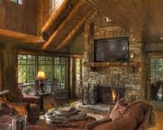 Family Room Log Cabin Decorating