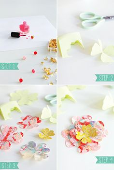 Easy DIY: Paper Flowers & Painted Tacks