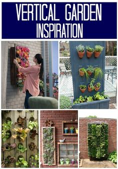 Vertical Garden Inspiration Ideas.  Great idea for small yards!