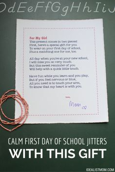 Is your kid nervous about the first day of school? Calm her jitters with this sweet mother-and-daughter gift. Includes a free printable! #backtoschool